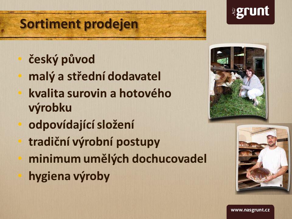 Sortiment prodejen český původ malý a střední dodavatel kvalita surovin a hotového výrobku odpovídající složení tradiční výrobní postupy minimum umělých dochucovadel hygiena výroby
