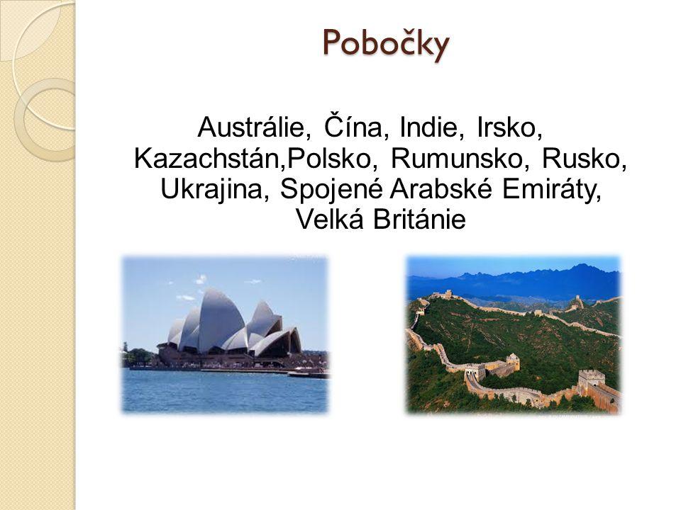 Pobočky Austrálie, Čína, Indie, Irsko, Kazachstán,Polsko, Rumunsko, Rusko, Ukrajina, Spojené Arabské Emiráty, Velká Británie