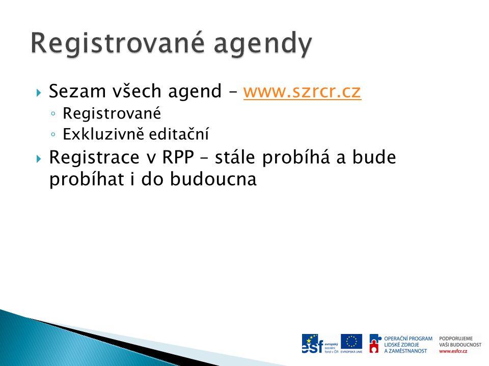  Sezam všech agend – www.szrcr.czwww.szrcr.cz ◦ Registrované ◦ Exkluzivně editační  Registrace v RPP – stále probíhá a bude probíhat i do budoucna