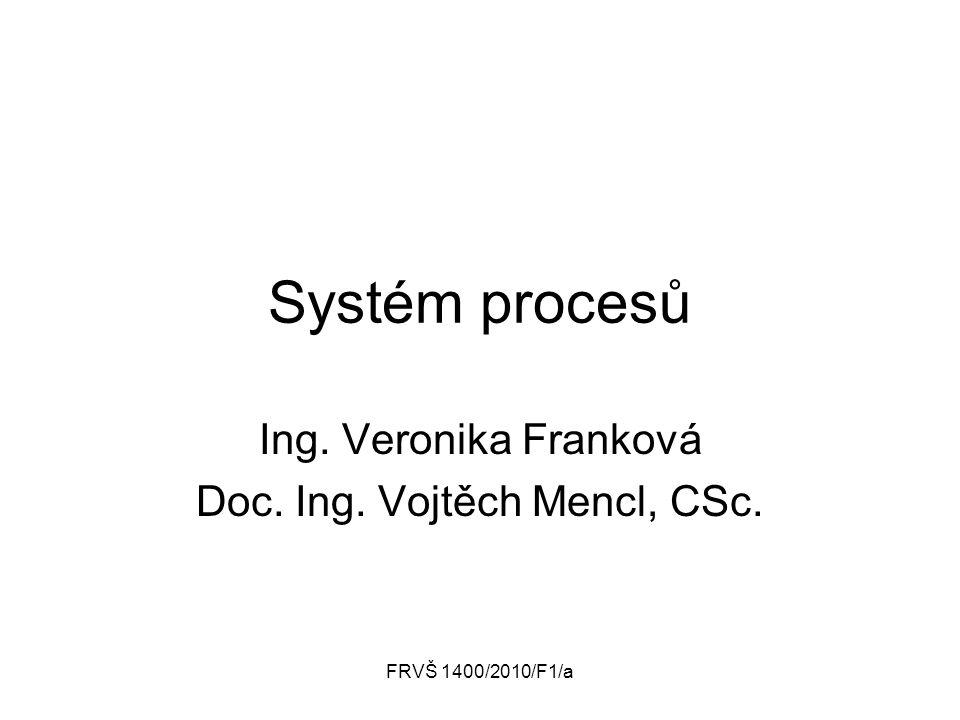 FRVŠ 1400/2010/F1/a Systém procesů Ing. Veronika Franková Doc. Ing. Vojtěch Mencl, CSc.