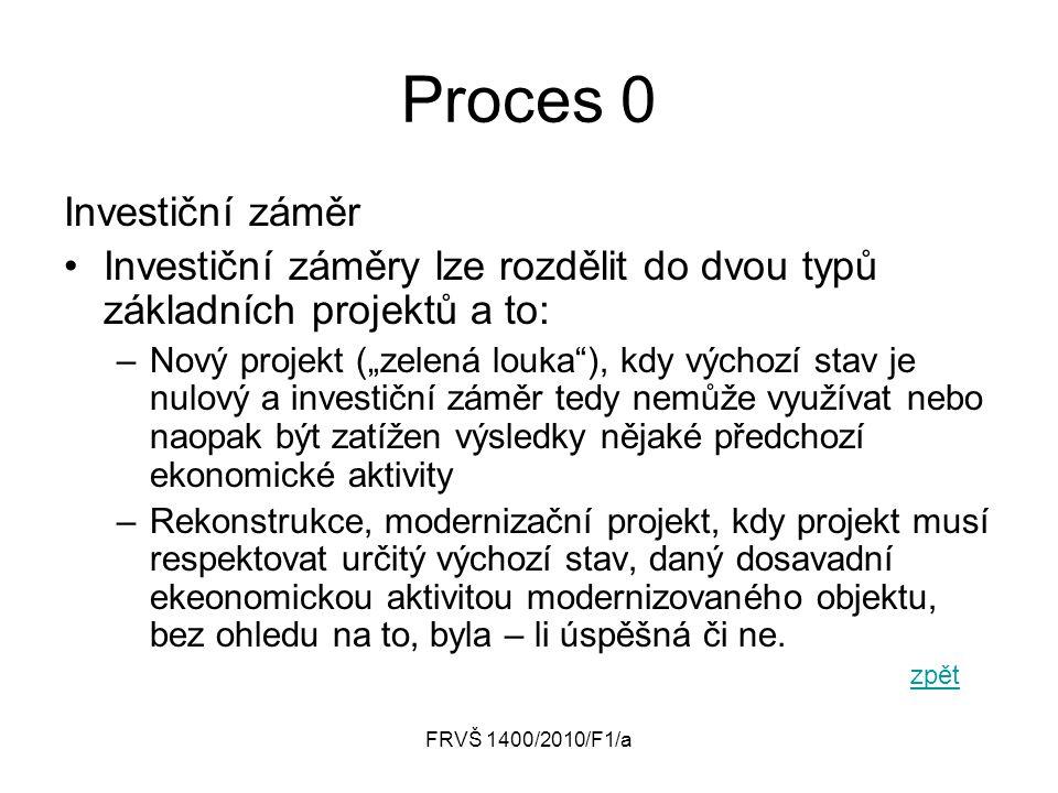 """FRVŠ 1400/2010/F1/a Proces 0 Investiční záměr Investiční záměry lze rozdělit do dvou typů základních projektů a to: –Nový projekt (""""zelená louka""""), kd"""