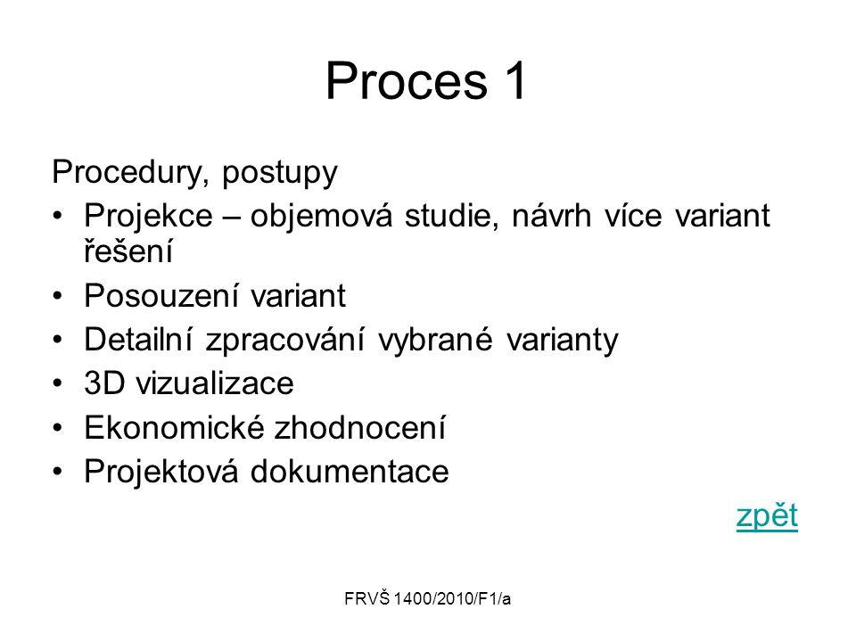 FRVŠ 1400/2010/F1/a Proces 1 Procedury, postupy Projekce – objemová studie, návrh více variant řešení Posouzení variant Detailní zpracování vybrané va