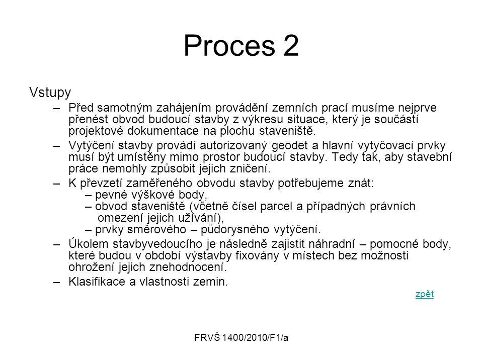 FRVŠ 1400/2010/F1/a Proces 2 Vstupy –Před samotným zahájením provádění zemních prací musíme nejprve přenést obvod budoucí stavby z výkresu situace, kt