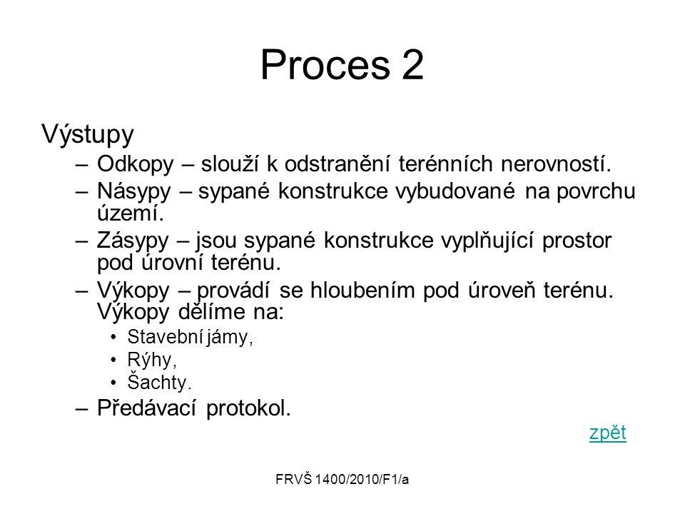 FRVŠ 1400/2010/F1/a Proces 2 Výstupy –Odkopy – slouží k odstranění terénních nerovností. –Násypy – sypané konstrukce vybudované na povrchu území. –Zás