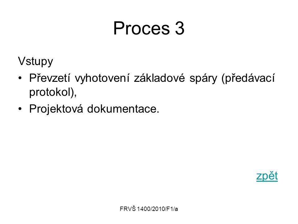 FRVŠ 1400/2010/F1/a Proces 3 Vstupy Převzetí vyhotovení základové spáry (předávací protokol), Projektová dokumentace. zpět
