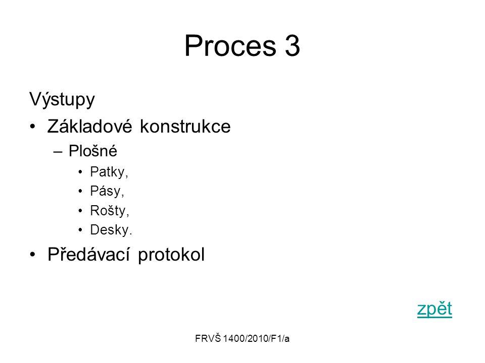 FRVŠ 1400/2010/F1/a Proces 3 Výstupy Základové konstrukce –Plošné Patky, Pásy, Rošty, Desky. Předávací protokol zpět