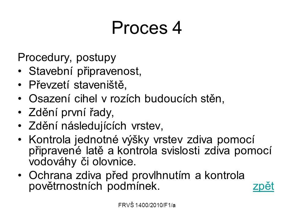 FRVŠ 1400/2010/F1/a Proces 4 Procedury, postupy Stavební připravenost, Převzetí staveniště, Osazení cihel v rozích budoucích stěn, Zdění první řady, Z