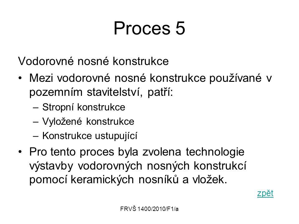 FRVŠ 1400/2010/F1/a Proces 5 Vodorovné nosné konstrukce Mezi vodorovné nosné konstrukce používané v pozemním stavitelství, patří: –Stropní konstrukce
