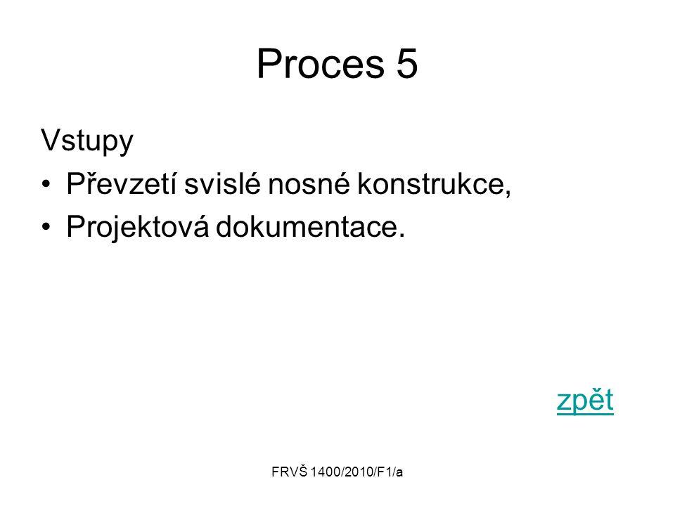 FRVŠ 1400/2010/F1/a Proces 5 Vstupy Převzetí svislé nosné konstrukce, Projektová dokumentace. zpět