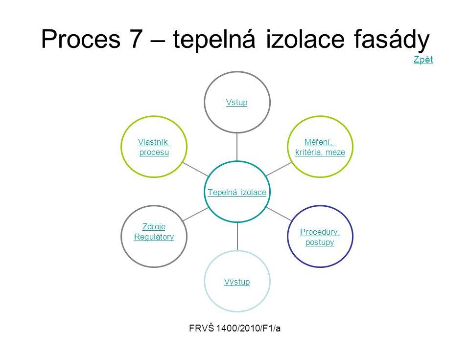 FRVŠ 1400/2010/F1/a Proces 7 – tepelná izolace fasády Zpět Zpět Tepelná izolace Vstup Měření, kritéria, meze Procedury, postupy Výstup Zdroje Reguláto