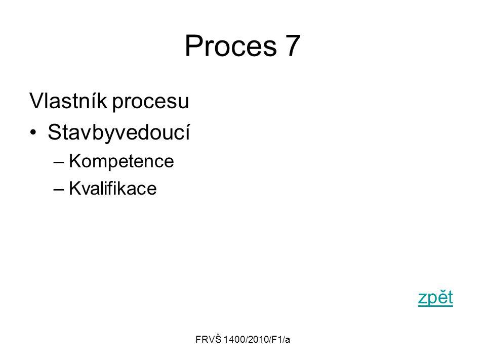 FRVŠ 1400/2010/F1/a Proces 7 Vlastník procesu Stavbyvedoucí –Kompetence –Kvalifikace zpět