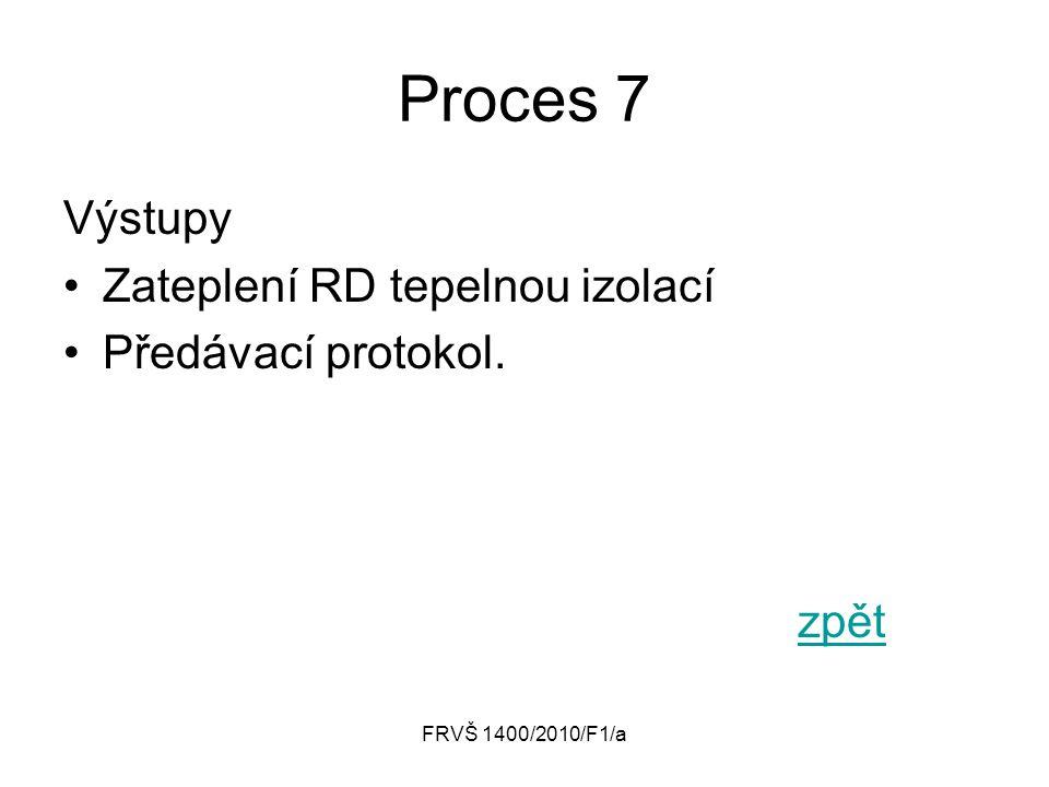 FRVŠ 1400/2010/F1/a Proces 7 Výstupy Zateplení RD tepelnou izolací Předávací protokol. zpět