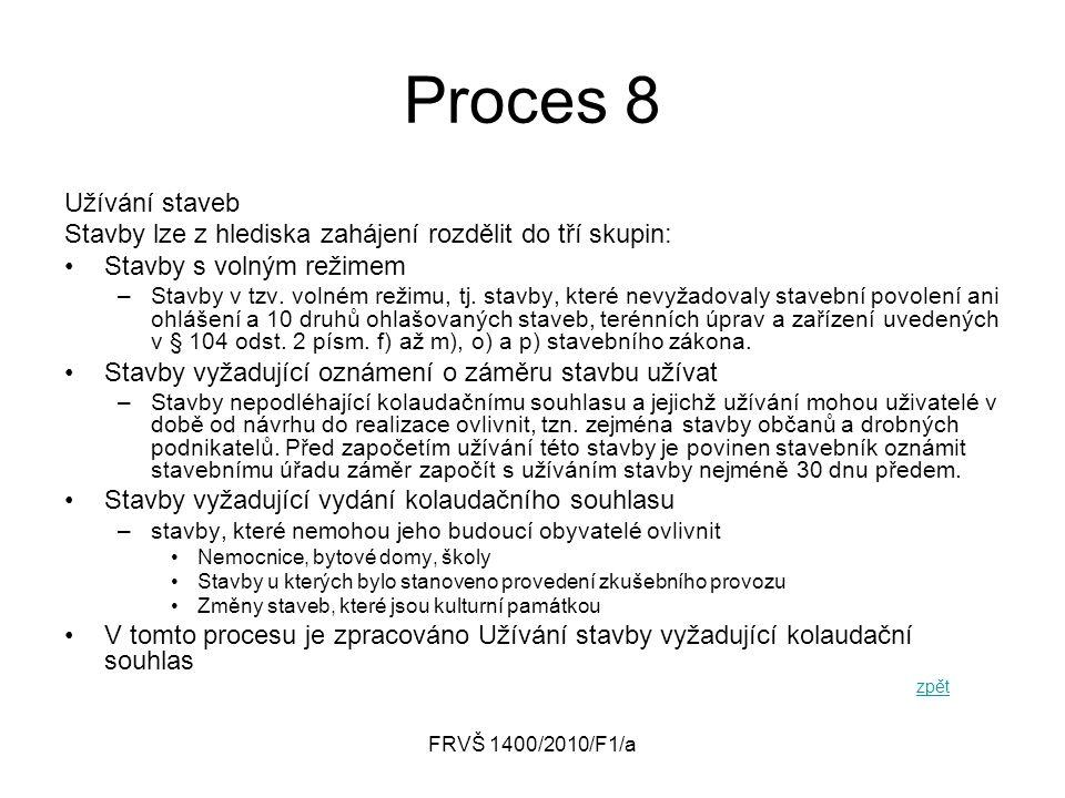 FRVŠ 1400/2010/F1/a Proces 8 Užívání staveb Stavby lze z hlediska zahájení rozdělit do tří skupin: Stavby s volným režimem –Stavby v tzv. volném režim