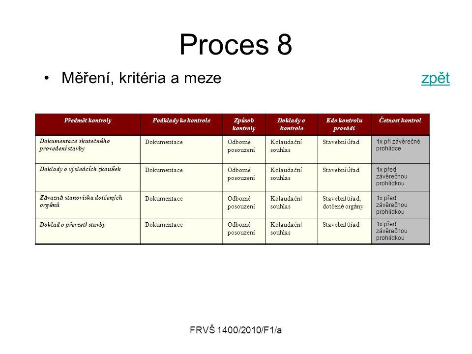 FRVŠ 1400/2010/F1/a Proces 8 Měření, kritéria a mezezpětzpět Předmět kontrolyPodklady ke kontroleZpůsob kontroly Doklady o kontrole Kdo kontrolu prová