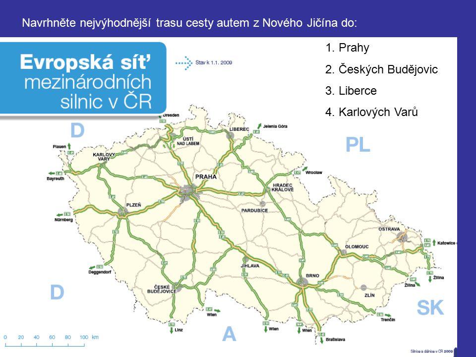 Navrhněte nejvýhodnější trasu cesty autem z Nového Jičína do: 1. Prahy 2. Českých Budějovic 3. Liberce 4. Karlových Varů