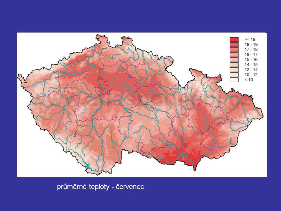 průměrné teploty - červenec