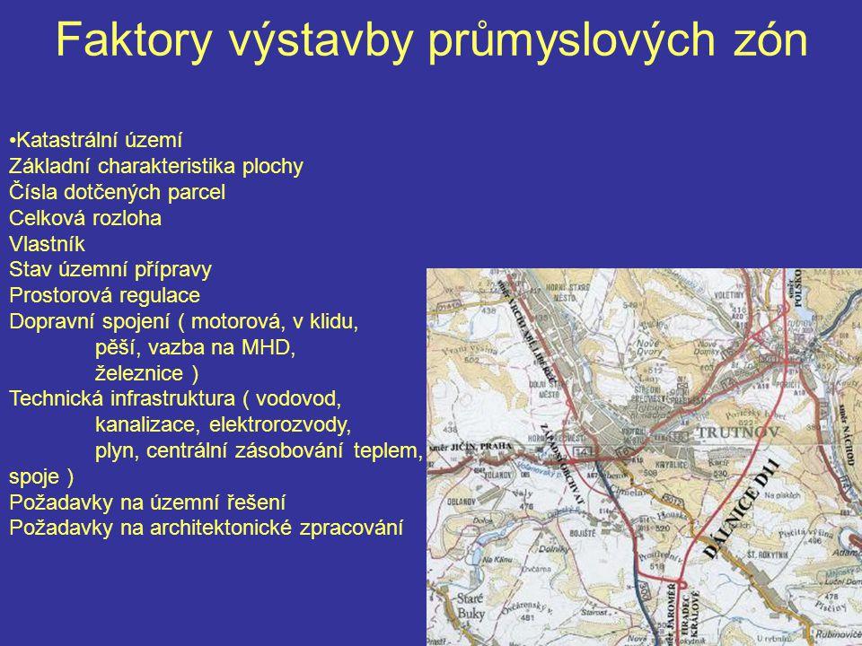 Faktory výstavby průmyslových zón Katastrální území Základní charakteristika plochy Čísla dotčených parcel Celková rozloha Vlastník Stav územní přípra
