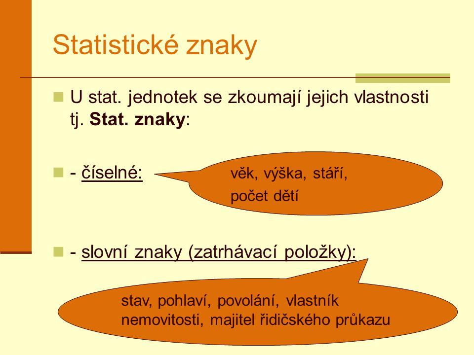 Statistické znaky U stat. jednotek se zkoumají jejich vlastnosti tj. Stat. znaky: - číselné: - slovní znaky (zatrhávací položky): věk, výška, stáří, p