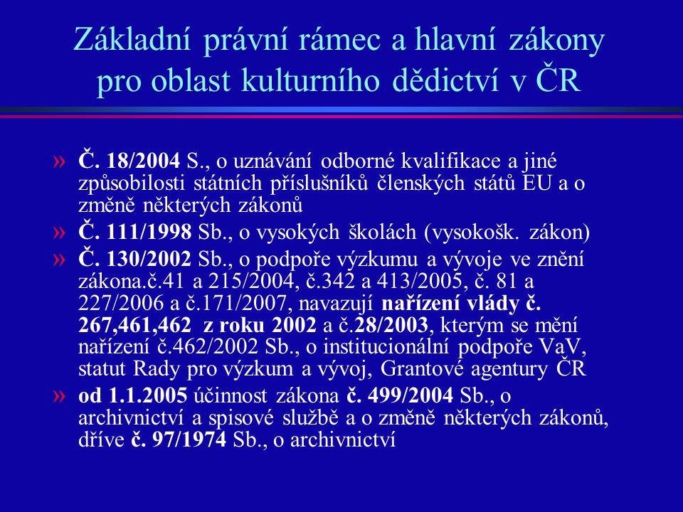 Základní právní rámec a hlavní zákony pro oblast kulturního dědictví v ČR » Č. 18/2004 S., o uznávání odborné kvalifikace a jiné způsobilosti státních