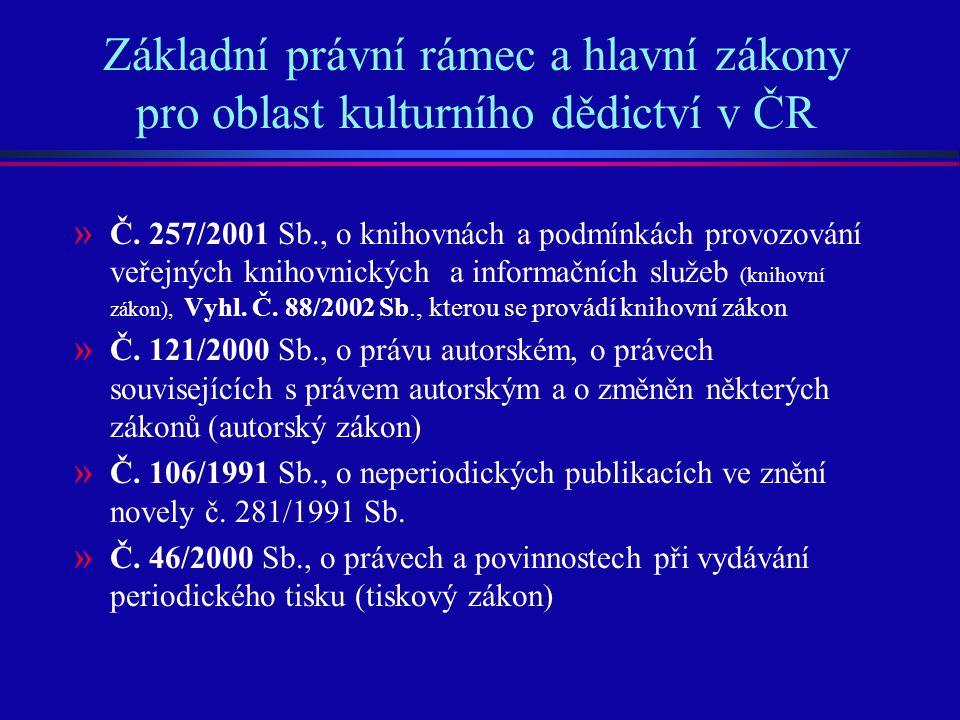 Základní právní rámec a hlavní zákony pro oblast kulturního dědictví v ČR » Č. 257/2001 Sb., o knihovnách a podmínkách provozování veřejných knihovnic