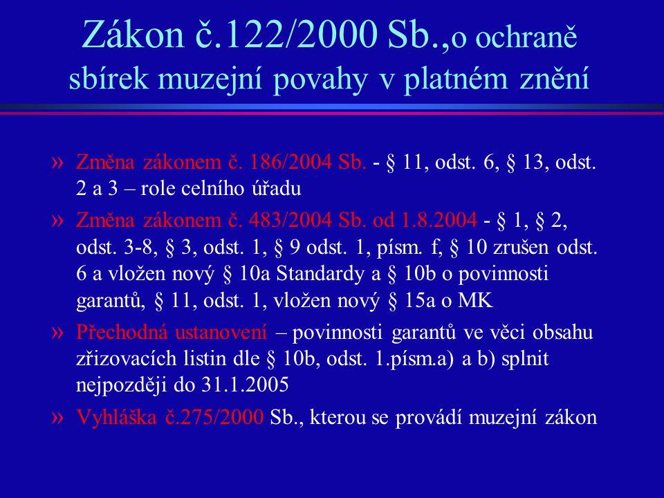 Zákon č.122/2000 Sb., o ochraně sbírek muzejní povahy v platném znění » Změna zákonem č. 186/2004 Sb. - § 11, odst. 6, § 13, odst. 2 a 3 – role celníh