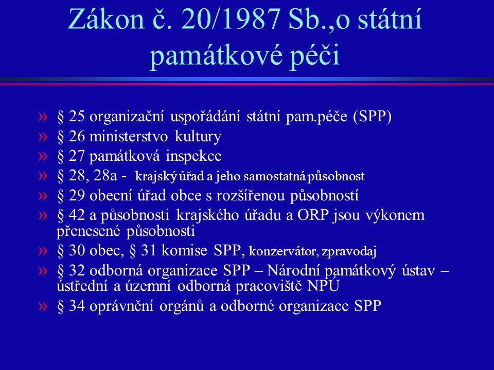 Zákon č. 20/1987 Sb.,o státní památkové péči » § 25 organizační uspořádání státní pam.péče (SPP) » § 26 ministerstvo kultury » § 27 památková inspekce