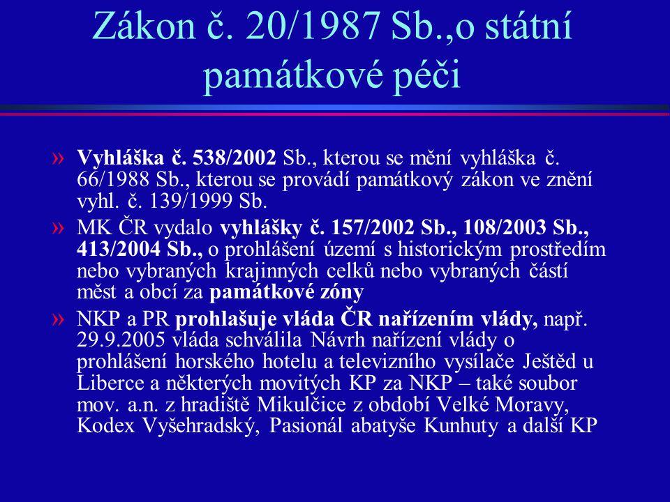 Zákon č. 20/1987 Sb.,o státní památkové péči » Vyhláška č. 538/2002 Sb., kterou se mění vyhláška č. 66/1988 Sb., kterou se provádí památkový zákon ve