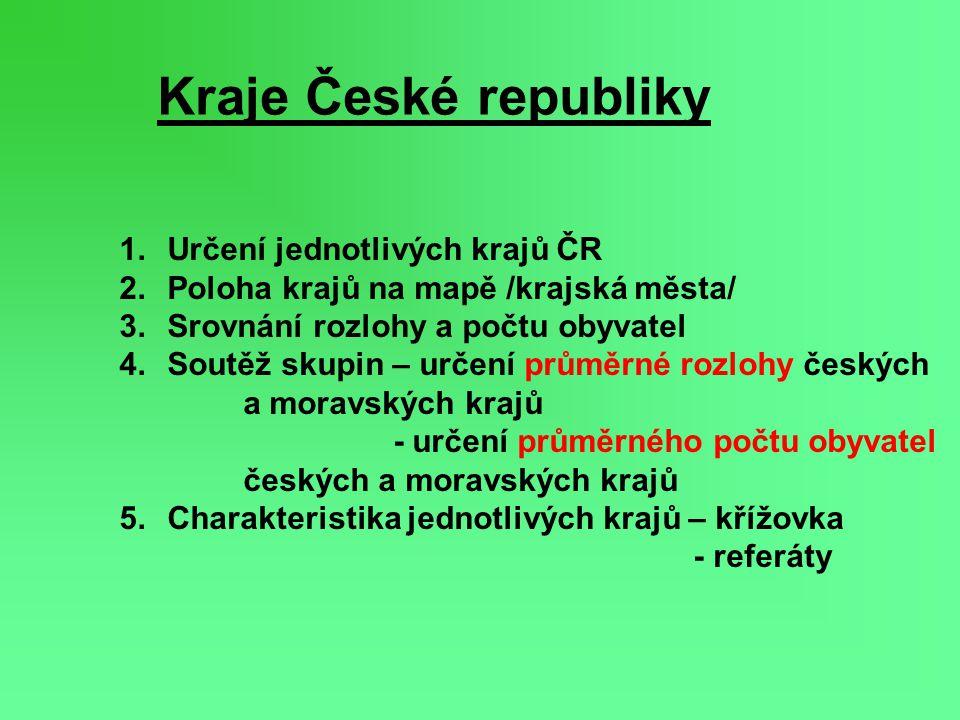 Šipkou spoj kraj s mapou ČR Urči krajské město!