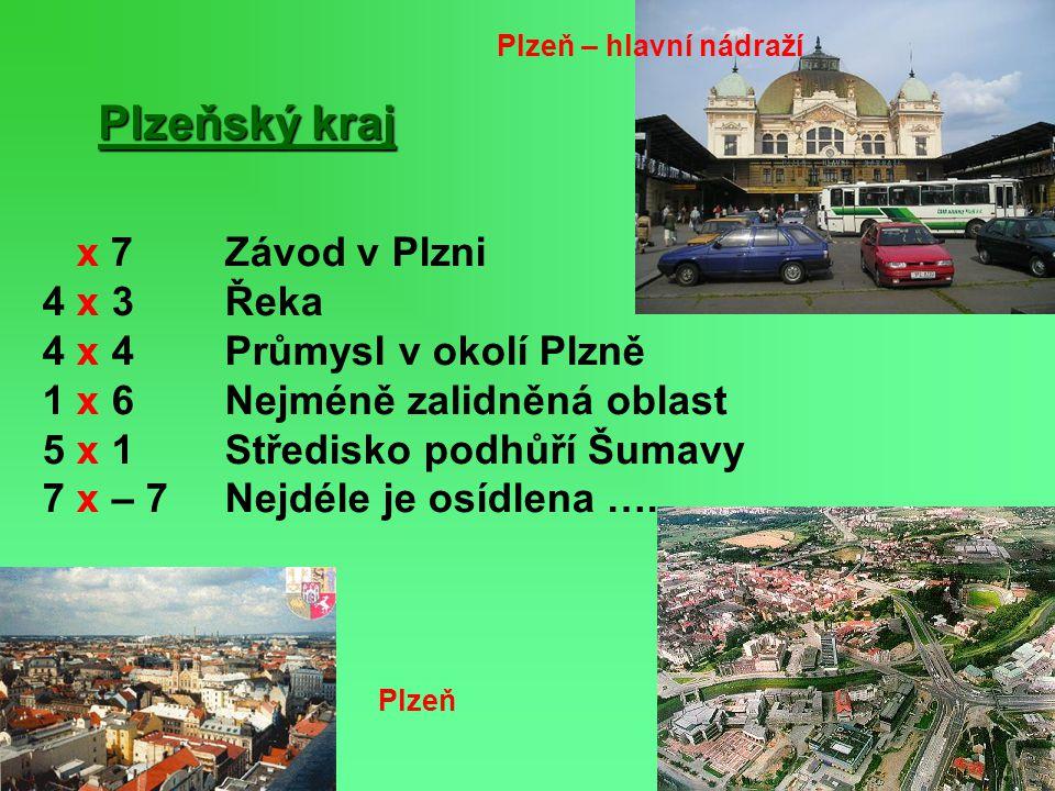 Plzeňský kraj x 7 Závod v Plzni 4 x 3 Řeka 4 x 4 Průmysl v okolí Plzně 1 x 6 Nejméně zalidněná oblast 5 x 1 Středisko podhůří Šumavy 7 x – 7 Nejdéle j