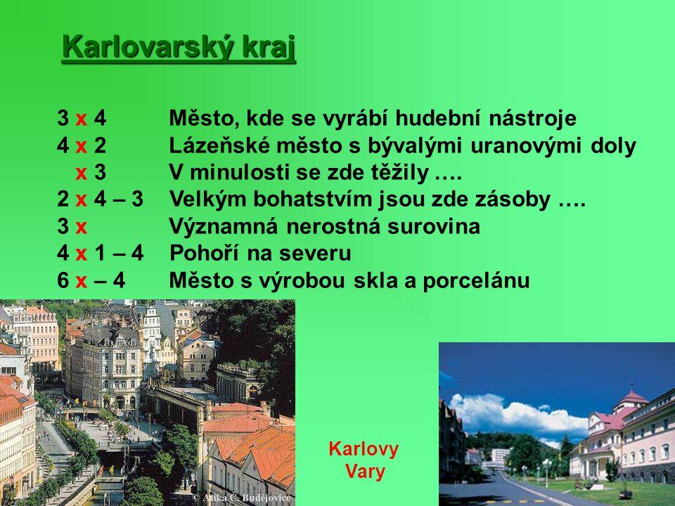Karlovarský kraj 3 x 4 Město, kde se vyrábí hudební nástroje 4 x 2 Lázeňské město s bývalými uranovými doly x 3 V minulosti se zde těžily …. 2 x 4 – 3