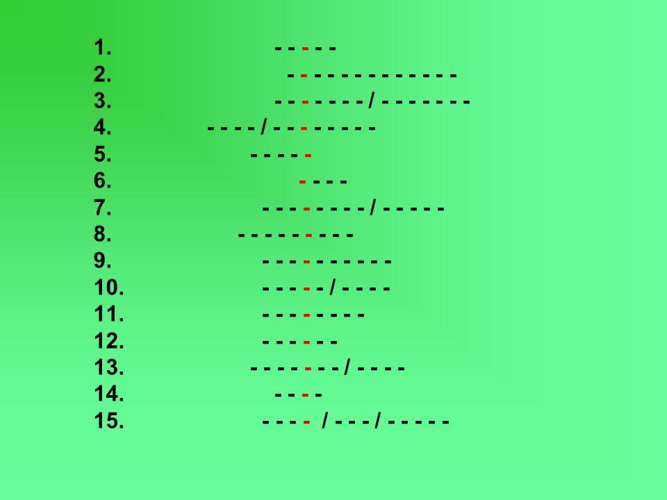 1. - - - - - 2. - - - - - - - - - - - - - 3. - - - - - - - / - - - - - - - 4. - - - - / - - - - - - - - 5. - - - - - 6. - - - - 7. - - - - - - - - / -