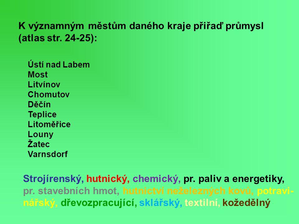 K významným městům daného kraje přiřaď průmysl (atlas str. 24-25): Strojírenský, hutnický, chemický, pr. paliv a energetiky, pr. stavebních hmot, hutn