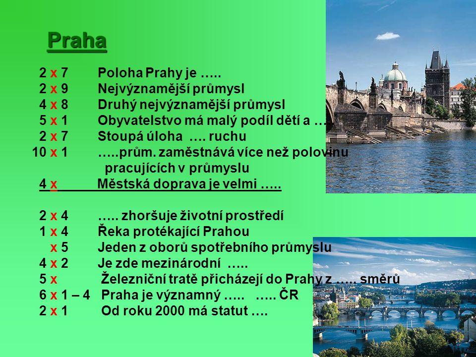 Praha 2 x 7 Poloha Prahy je ….. 2 x 9 Nejvýznamější průmysl 4 x 8 Druhý nejvýznamější průmysl 5 x 1 Obyvatelstvo má malý podíl dětí a ….. 2 x 7 Stoupá