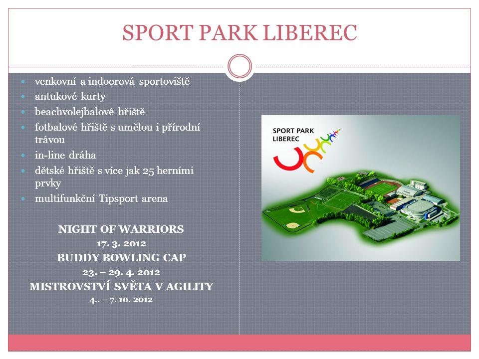 SPORT PARK LIBEREC venkovní a indoorová sportoviště antukové kurty beachvolejbalové hřiště fotbalové hřiště s umělou i přírodní trávou in-line dráha d