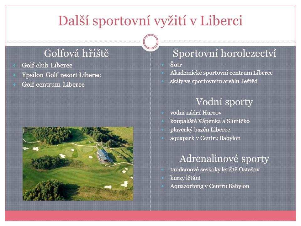 Další sportovní vyžití v Liberci Golfová hřiště Golf club Liberec Ypsilon Golf resort Liberec Golf centrum Liberec Sportovní horolezectví Šutr Akademi