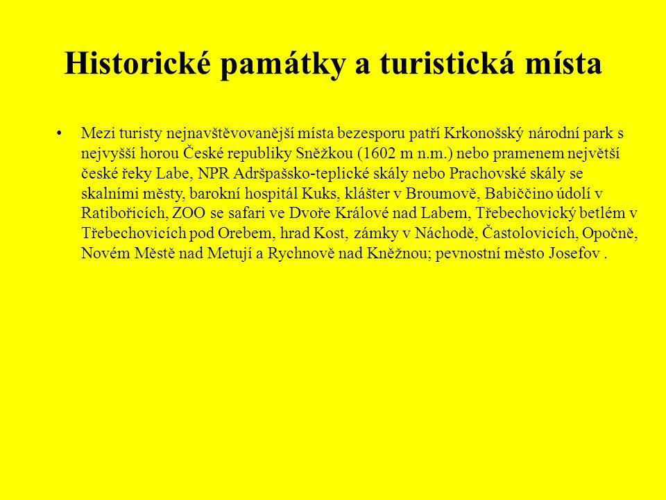 Historické památky a turistická místa Mezi turisty nejnavštěvovanější místa bezesporu patří Krkonošský národní park s nejvyšší horou České republiky S