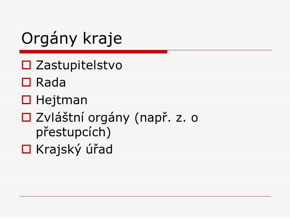 Orgány kraje  Zastupitelstvo  Rada  Hejtman  Zvláštní orgány (např. z. o přestupcích)  Krajský úřad