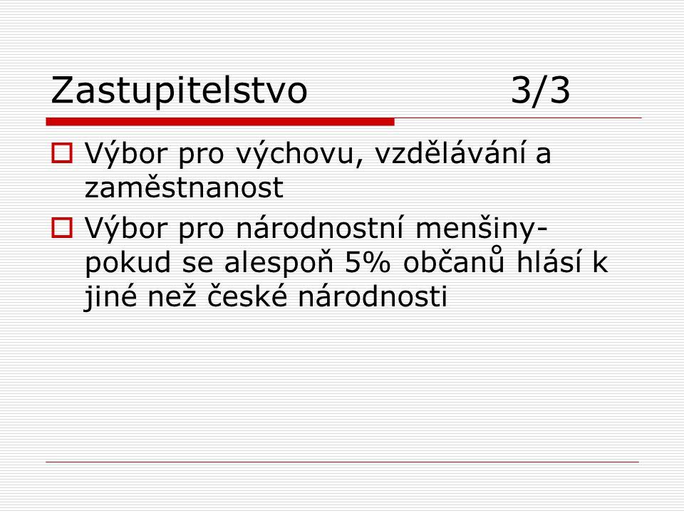 Zastupitelstvo 3/3  Výbor pro výchovu, vzdělávání a zaměstnanost  Výbor pro národnostní menšiny- pokud se alespoň 5% občanů hlásí k jiné než české n