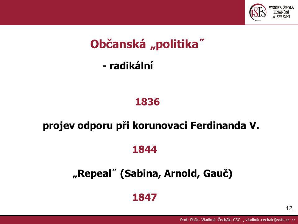 """12. Prof. PhDr. Vladimír Čechák, CSC., vladimir.cechak@vsfs.cz :: Občanská """"politika˝ - radikální 1836 projev odporu při korunovaci Ferdinanda V. 1844"""