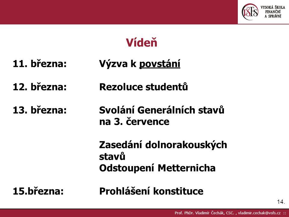 14. Prof. PhDr. Vladimír Čechák, CSC., vladimir.cechak@vsfs.cz :: Vídeň 11. března:Výzva k povstání 12. března:Rezoluce studentů 13. března:Svolání Ge