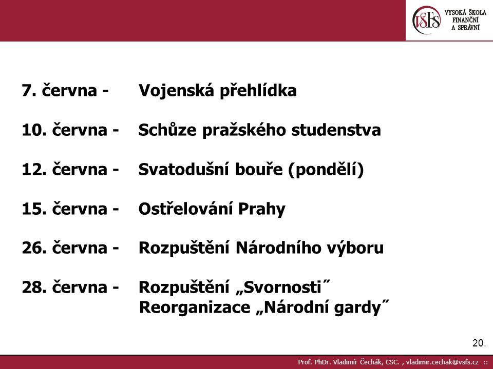 20. Prof. PhDr. Vladimír Čechák, CSC., vladimir.cechak@vsfs.cz :: 7. června - Vojenská přehlídka 10. června - Schůze pražského studenstva 12. června -