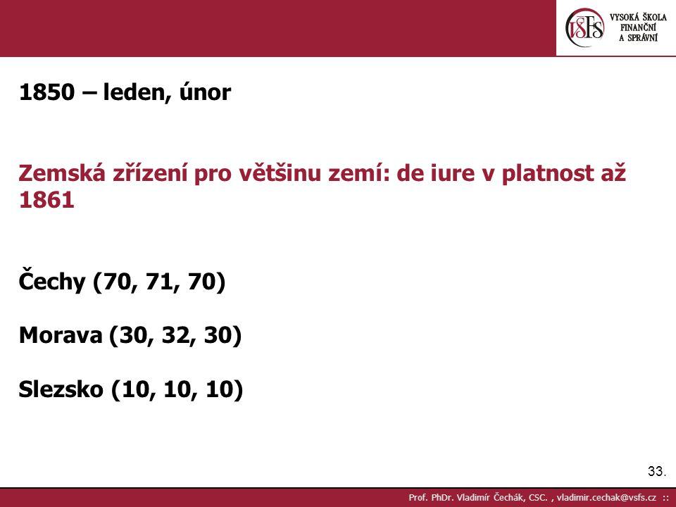 33. Prof. PhDr. Vladimír Čechák, CSC., vladimir.cechak@vsfs.cz :: 1850 – leden, únor Zemská zřízení pro většinu zemí: de iure v platnost až 1861 Čechy