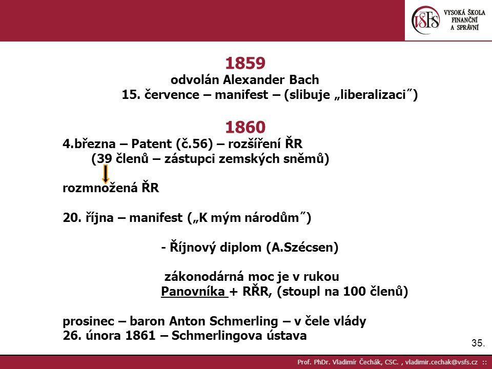 """35. Prof. PhDr. Vladimír Čechák, CSC., vladimir.cechak@vsfs.cz :: 1859 odvolán Alexander Bach 15. července – manifest – (slibuje """"liberalizaci˝) 1860"""