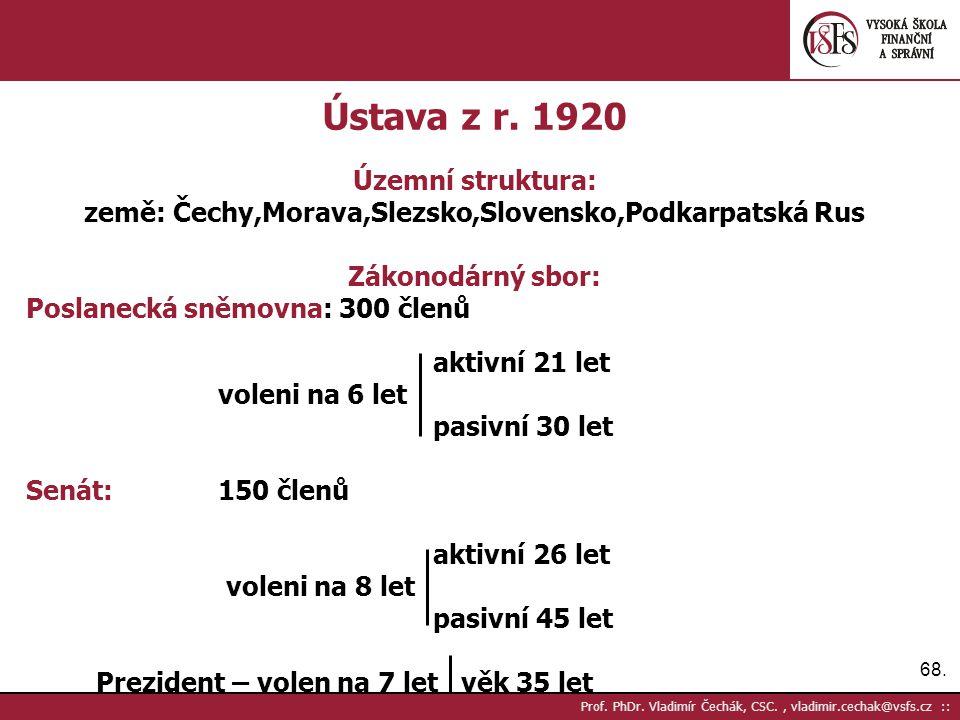68. Prof. PhDr. Vladimír Čechák, CSC., vladimir.cechak@vsfs.cz :: Ústava z r. 1920 Územní struktura: země: Čechy,Morava,Slezsko,Slovensko,Podkarpatská