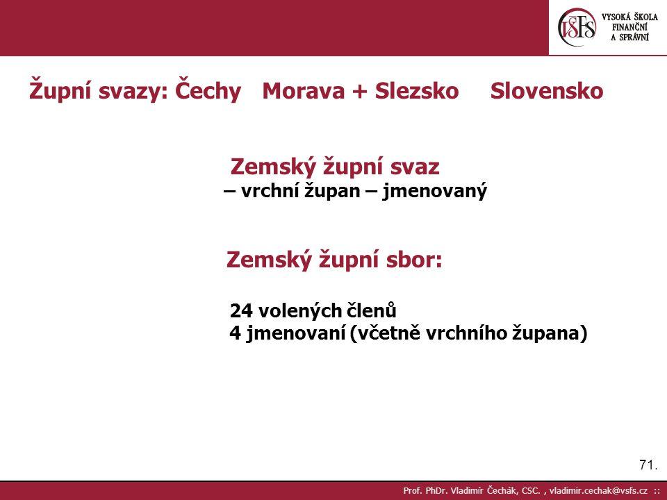 71. Prof. PhDr. Vladimír Čechák, CSC., vladimir.cechak@vsfs.cz :: Župní svazy: Čechy Morava + SlezskoSlovensko Zemský župní svaz – vrchní župan – jmen