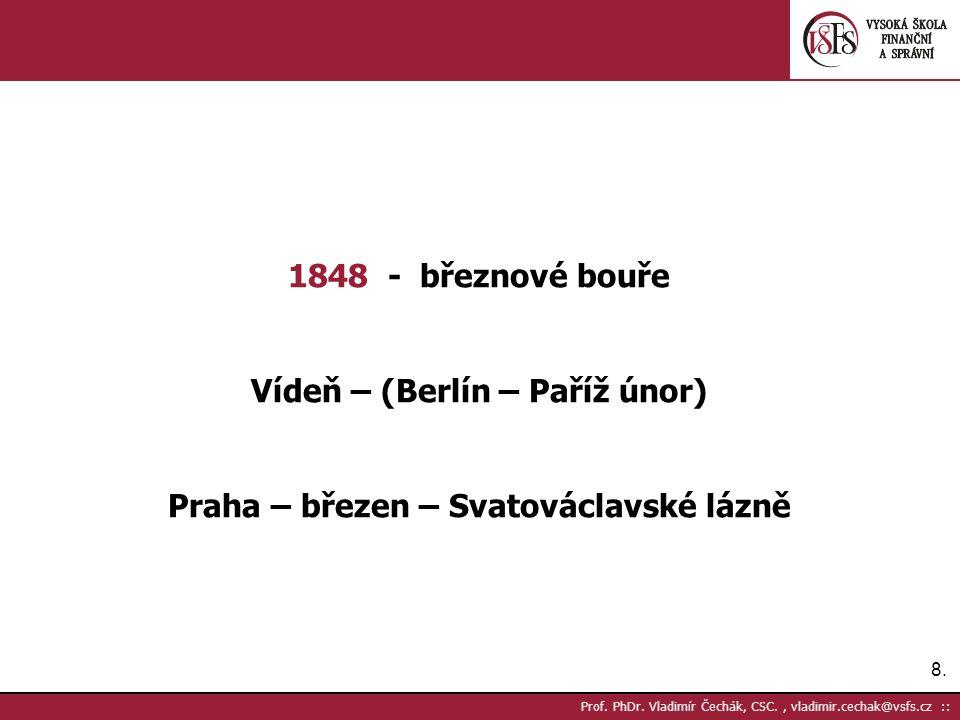 8.8. Prof. PhDr. Vladimír Čechák, CSC., vladimir.cechak@vsfs.cz :: 1848 - březnové bouře Vídeň – (Berlín – Paříž únor) Praha – březen – Svatováclavské