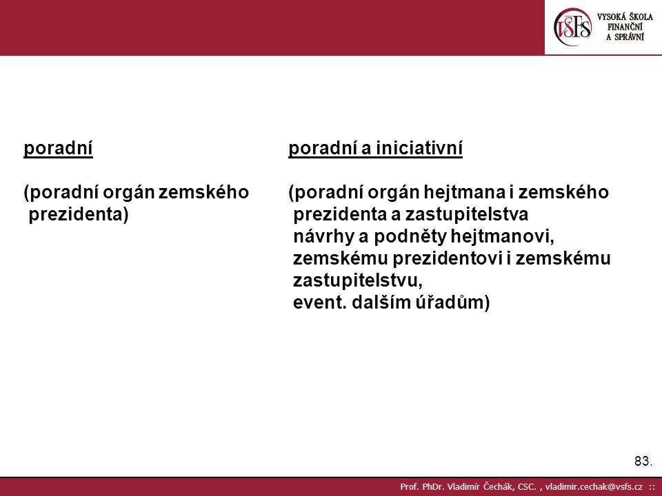83. Prof. PhDr. Vladimír Čechák, CSC., vladimir.cechak@vsfs.cz :: poradníporadní a iniciativní (poradní orgán zemského(poradní orgán hejtmana i zemské