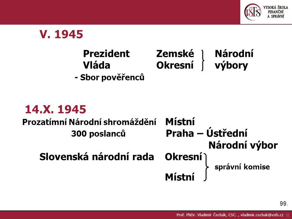 99. Prof. PhDr. Vladimír Čechák, CSC., vladimir.cechak@vsfs.cz :: V. 1945 PrezidentZemskéNárodní VládaOkresnívýbory - Sbor pověřenců 14.X. 1945 Prozat