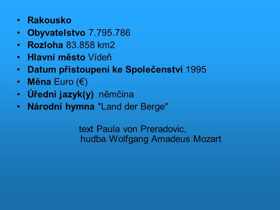 Použitá literatura HAYWOOD, Anthony.Rakousko : překlad Eva Kalinová.