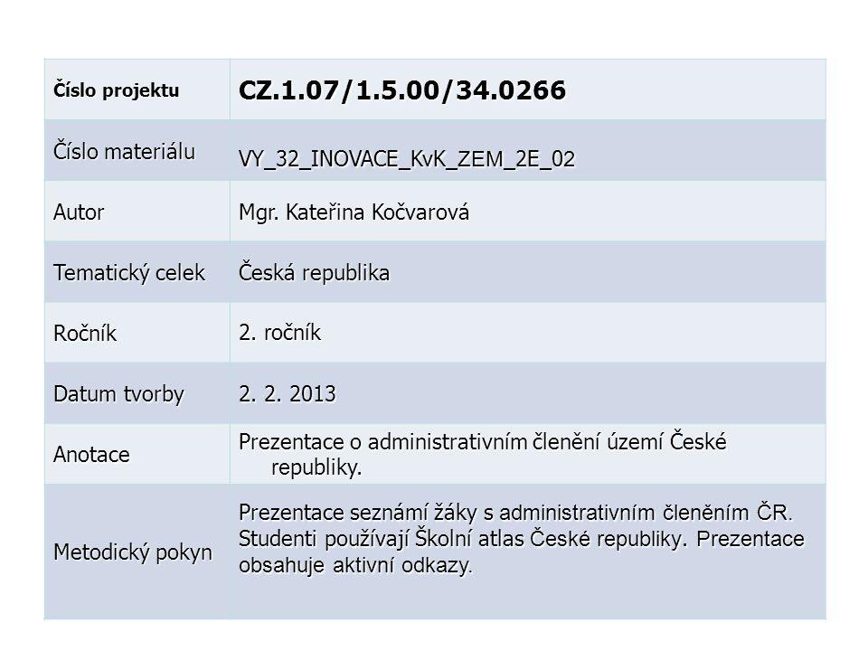 Číslo projektu CZ.1.07/1.5.00/34.0266 Číslo materiálu VY_32_INOVACE_KvK_ ZEM _2E_0 2 Autor Mgr. Kateřina Kočvarová Tematický celek Česká republika Roč